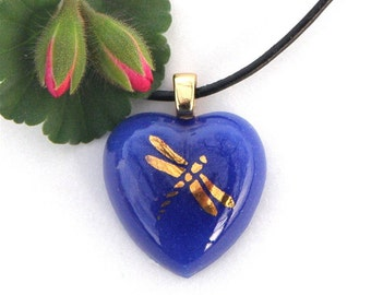 Fused Glass Heart Pendant Necklace - Cobalt Blue with Gold Dragonfly Decal - Fused Glass Jewelry