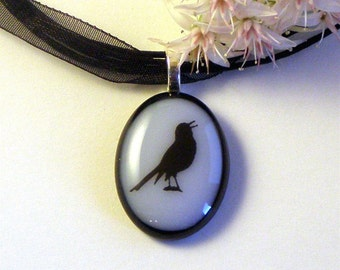 Pretty Little Songbird Fused Glass Pendant Necklace Lilac and Black Glass on Ribbon Cord Necklace