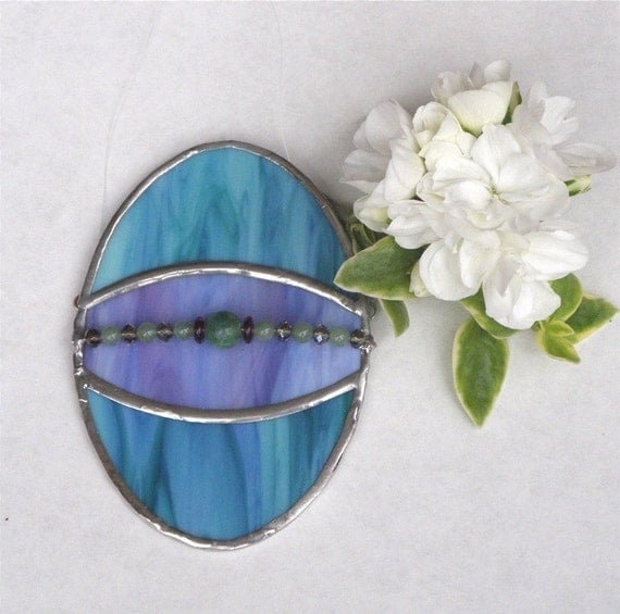 Stained Glass Easter Egg Suncatcher - Blue and Purple with Beads - Easter Home Decor