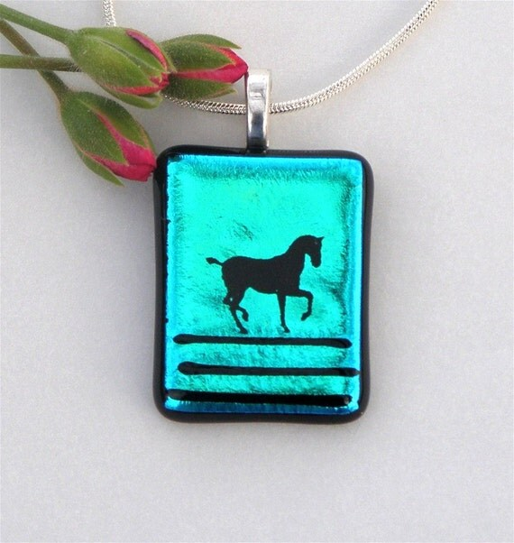 Blue Dichroic Fused Glass Pendant Necklace with Graceful Horse Decal