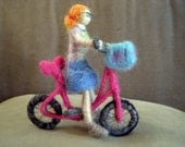 Needle Felted Bike with Mini Me - CUSTOMIZABLE - Original design by Borbala Arvai, made to order