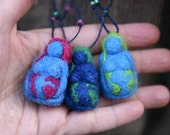 Needle Felted Earth Mama pendant -  blue, pink - Original design by Borbala Arvai, made to order