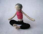 Sue the Needle Felted Yoga Doll, Original design by Borbala Arvai