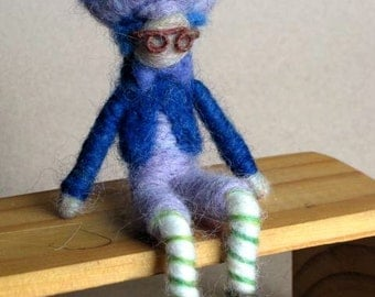 Needle Felted Boy Doll, Doll with glasses, Plum Pudding Boy, Strawberry Shortcake, Original design by Borbala Arvai