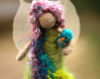 SEASONAL FAIRIES - Needle Felted Spring Forest Fairy w Bird, Original design by Borbala Arvai, Made to order