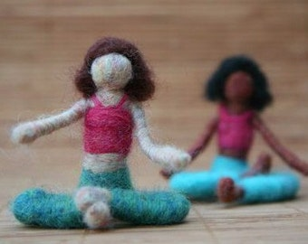 Sophie the Needle Felted Yoga Doll (brunette), Waldorf inspired, felted toy, decoration, meditation, Original design by Borbala Arvai