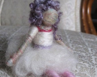 Olga, needle felted ballerina, Waldorf doll, Felted toy, - white, Original design by Borbala Arvai, READY to ship