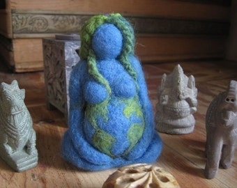 Needle felted, Mother Earth, Blue Goddess, Original design by Borbala Arvai, made to order