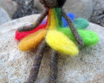 Needle Felted Rainbow Girl Doll - Original design by Borbala Arvai