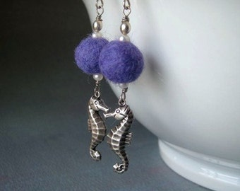 Cute Seahorse dangle earrings - Silver ox plated charms with purple felted wool balls