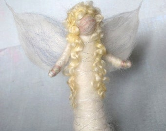 Needle Felted Standing  Angel, Nativity, White, Original design by Borbala Arvai, MADE to order