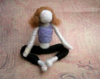 Kathy the Needle Felted Yoga Doll, Original design by Borbala Arvai