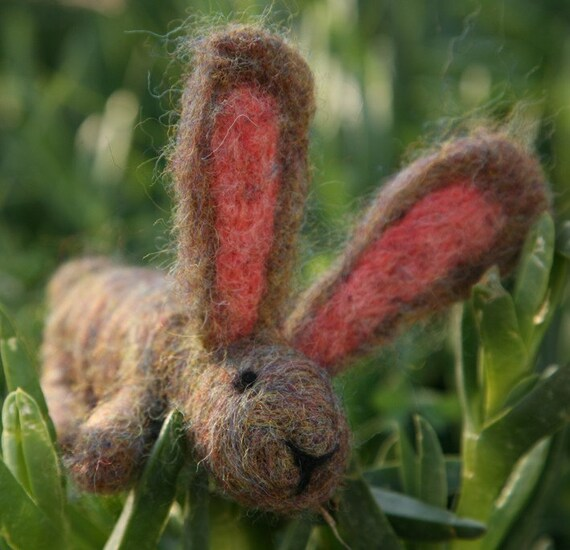 Needle Felted Animal, Brown Bunny, Rabbit, Waldorf Nature Table, felted toy