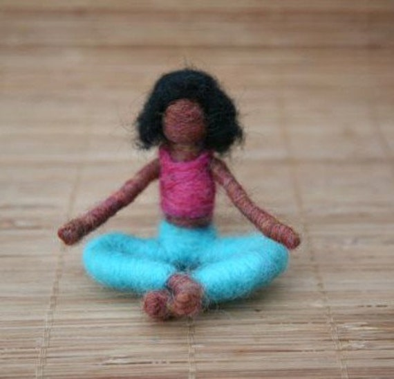 Nina the Needle Felted Yoga Doll