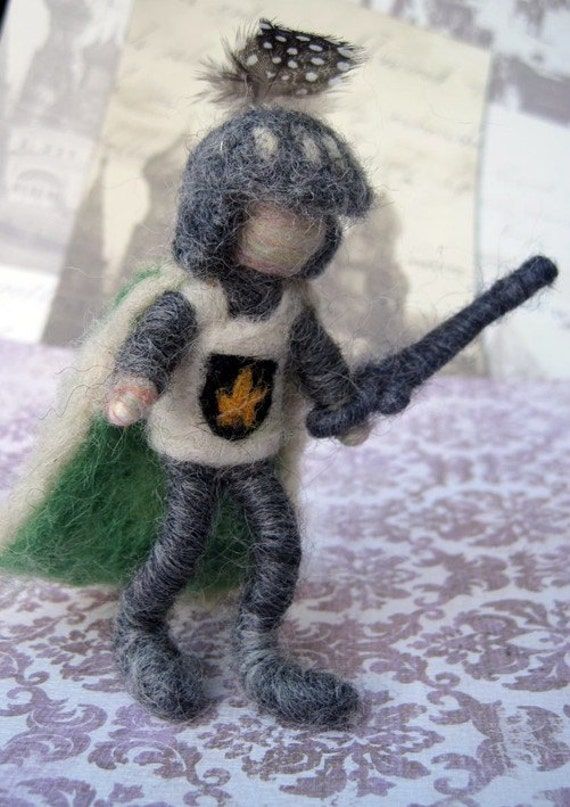 Needle Felted Posable Knight with flipping helmet, sword and cape, Original design by Borbala Arvai, made to order