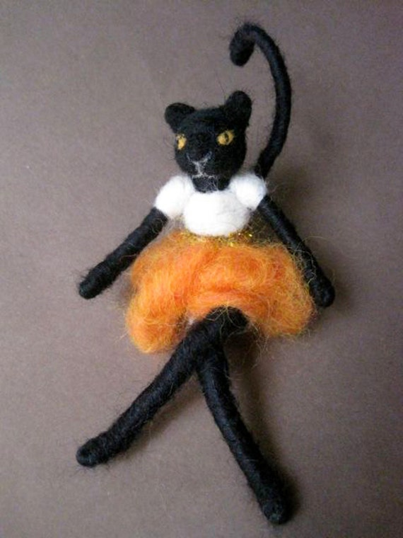 Needle felted Cat, Black Cat Girl, Halloween Doll, decoration and toy, white shirt, Original design by Borbala Arvai, MADE to order