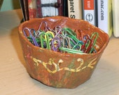 Small handcrafted paper mache organizer trinket dish