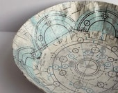 Geometry bowl in blue, white and silver, gilded jewelry dish or catch-all bowl,  desk organization for math geeks