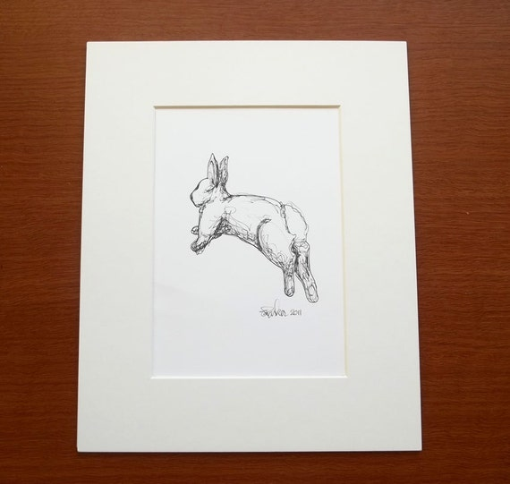 Rabbit drawing, leaping rabbit, original black and white ink illustration