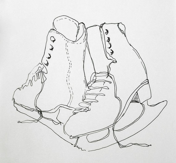 Figure Skate Drawing to Drawing of Ice Skates