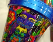 For skroutil only-- LAUREL BURCH CATS Metallic Blue Rim 8 INCH FLOWER POT Multi-Purpose Pot