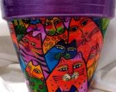 LAUREL BURCH Brite CATS Purple Rim 6 INCH FLOWER POT Multi-Purpose Pot
