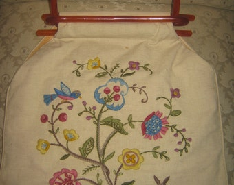Vintage Embroidered Handbag/Purse/ Craft Bag/ Tote Bag/Shopper/FREE SHIPPING USA