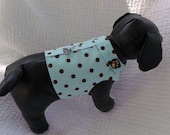 Blue and Brown Polka Dot Dog Harness Vest with Collar
