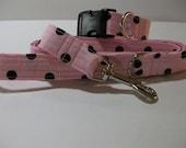 Pink and Black  Polka Dot  Print  Dog Collar and Leash Set