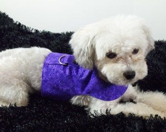 Purple  Dog Harness Vest with Bow Tie or Bow For Wedding or Holidays