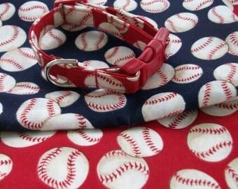 Baseball Collar  Red or Blue   Dog Collar Custom Made