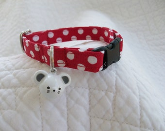 Mouse Polka Dot   Cat  Collar Breakaway Collar Custom Made