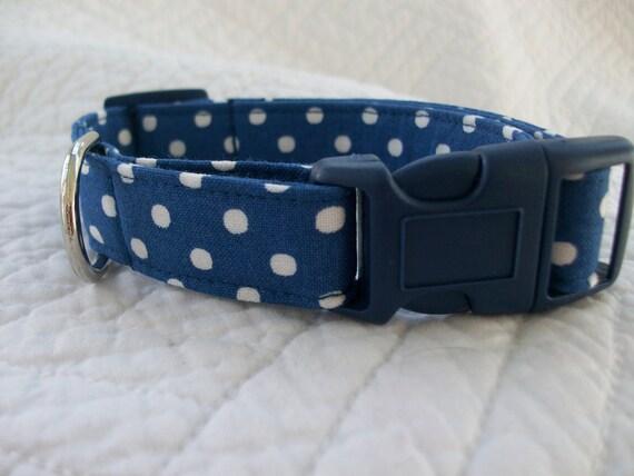 Nautical  Blue Polka Dot   Dog Collar Custom Made Your Choice