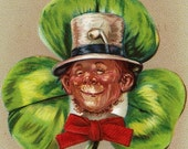 1908 St Patricks Day Postcard Leprauchaun In Green Shamrock - Top O The Mornin To Ye Embossed Tucks