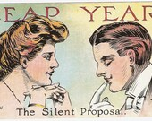 Vintage Postcard Leap Year The Silent Proposal Lady And Man Unused