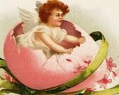 Cherub Child In Pink Egg Vintage Easter Postcard - Embossed Blue Flowered Cross White Flowers