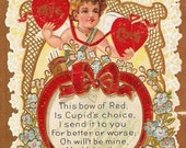 Cherub Red Hearts Blue Periwinkle Flowers Gold Gilt Embossed Vintage Valentines Day Postcard - You Is All Right