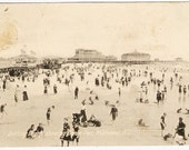 Vintage Postcard Bathing Beach Showing Ocean Pier Wildwood NJ - Old Fashioned Swimsuits