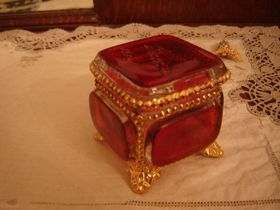 Vintage Ruby Glass Trinket Casket Box footed with gold bead detail Grace 1954
