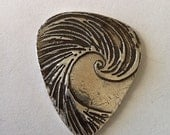 Silver Wave Guitar Pick with options as a necklace, pendant or keychain by SurfingSIlver