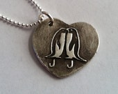 Penguin Love Kissing in a Heart Personalized with your initials  Silver Necklace -Made to Order