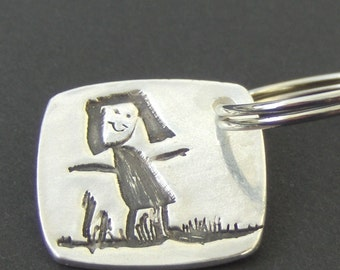 Turn Your Children's Self Portrait into Silver Jewelry or Keychain - Made to Order