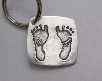 Silver Footprints or Handprints Made from your child's actual prints into a Silver Keychain