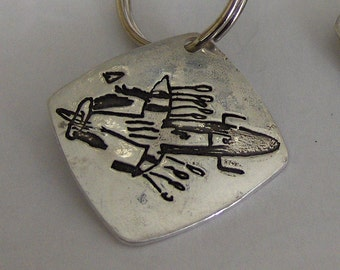 Turn Your Child's Artwork into a Silver Keychain or Pendant - Made to Order
