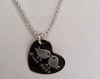 Personalized Lovebirds in a Heart - Silver Necklace -Made to Order - choose your chain