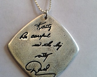 Double Sided Memorial Jewelry Your Actual Loved Ones Writing Silver Pendant - Made to Order by Surfingsilver