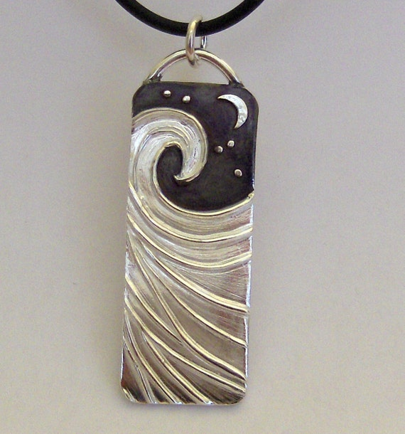 Perfect Wave Silver necklace smooth ocean under the moon and stars - Made to Order-