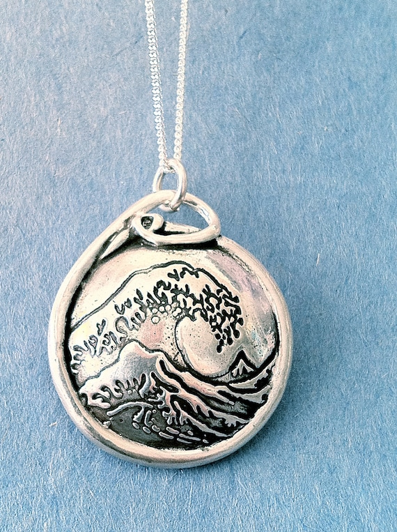 Inspired by Hokusai's Great Wave - Expanded Version- Silver Aroma Therapy Pendant-Made to Order