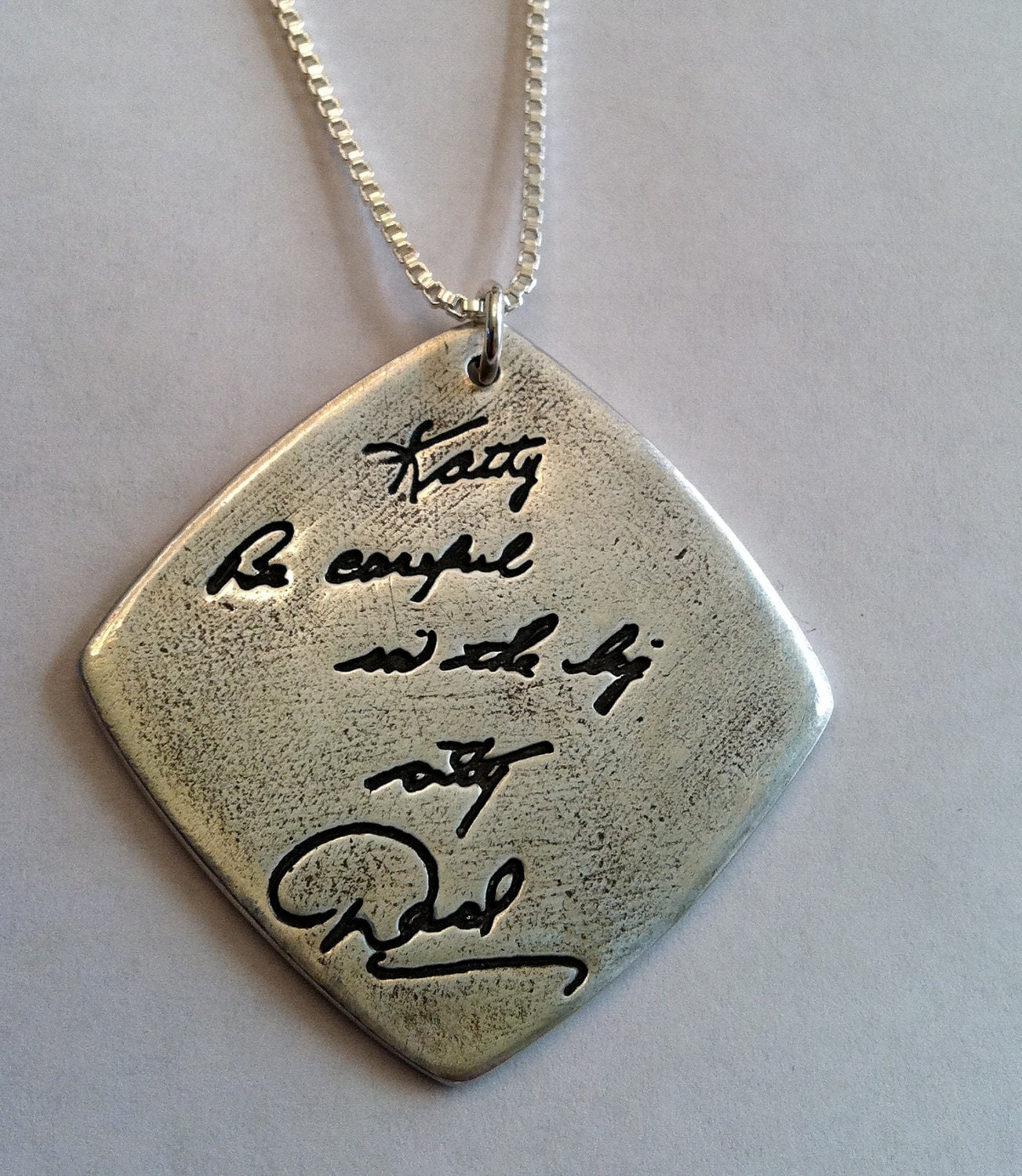 Double Sided Memorial Jewelry Your Actual Loved Ones Writing