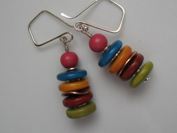 Handmade dangle earrings with tagua nut rondels and sterling silver ear wires